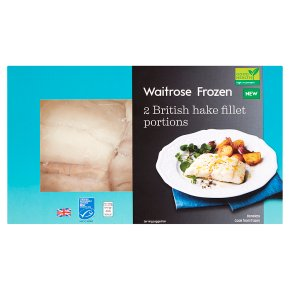 Waitrose Frozen 2 British Hake Fillet Portions MSC