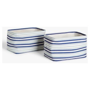 John Lewis Canvas Stripe Storage Boxes Set of 2