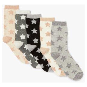 John Lewis Stars Ankle Socks 5 Pair