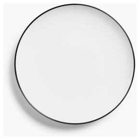 House by John Lewis Rim Coupe Side Plate, 22cm, White/Black