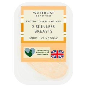 Waitrose 2 British Cooked Skinless Chicken Breasts