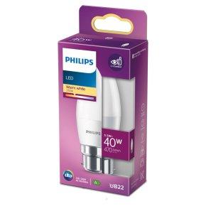 Philips LED Candle White 5.5w B22