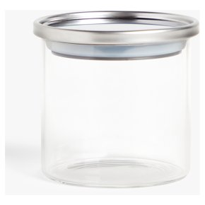 John Lewis Stainless Steel Jar Glass Lid 450ml