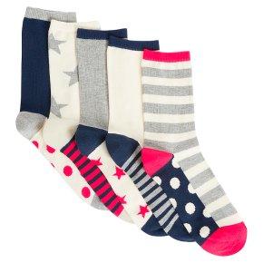 John Lewis 5pk Spots Ankle Socks