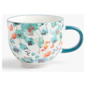 John Lewis Floral Footed Autumn Blue Mug
