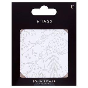 John Lewis Round Mistletoe Print Tags