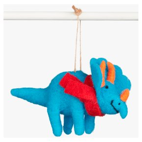 Blue Triceratops Red Scarf Decoration