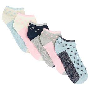John Lewis 5pk Pastel Trainer Socks