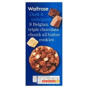 Waitrose 8 Belgian Triple Chocolate Cookies