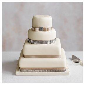 Fruit & Golden Sponge Diamanté Wedding Cake