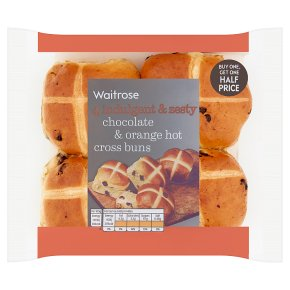 Waitrose Chocolate & Orange Hot Cross Bun