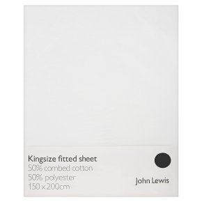 John Lewis Anyday Polycotton Fitted Sheet King, White