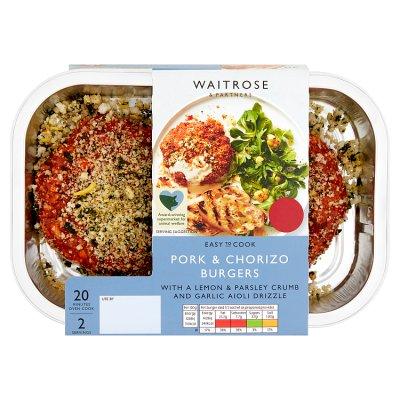 Easy to Cook Pork and Chorizo Burgers | Waitrose & Partners